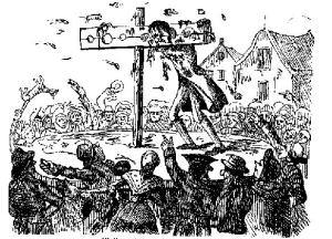 John Waller in the pillory. The Newgate Calendar. Via wikimedia commons.